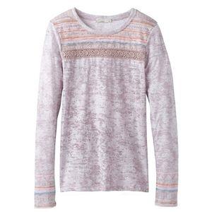 Prana Tilly Crochet accented Long Sleeve tee XS